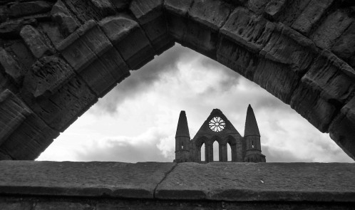 Whitby Spires Through Window Arch